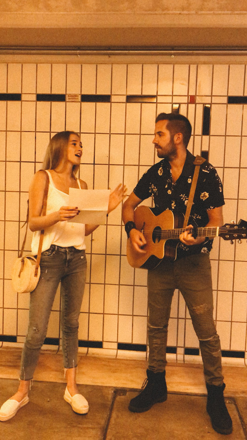 JULIAN WEISS SINGING WITH A FRIEND IN A SUBWAY IN HIS HOMETOWN I LOERRACH I JUNE 2018