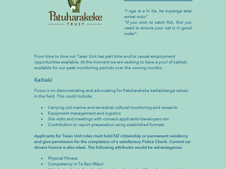 Expressions of Interest - Kaitiaki. Patuharakeke Taiao / Environmental Unit