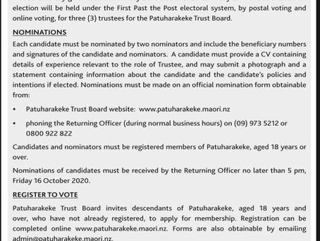 Patuharakeke Trust Elections