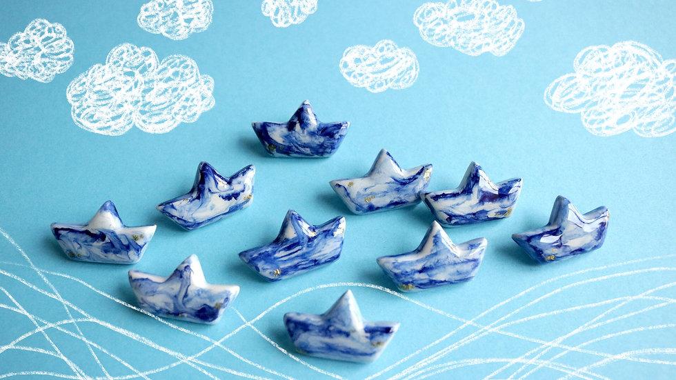 "Clay Brooch ""Paper Boat"""