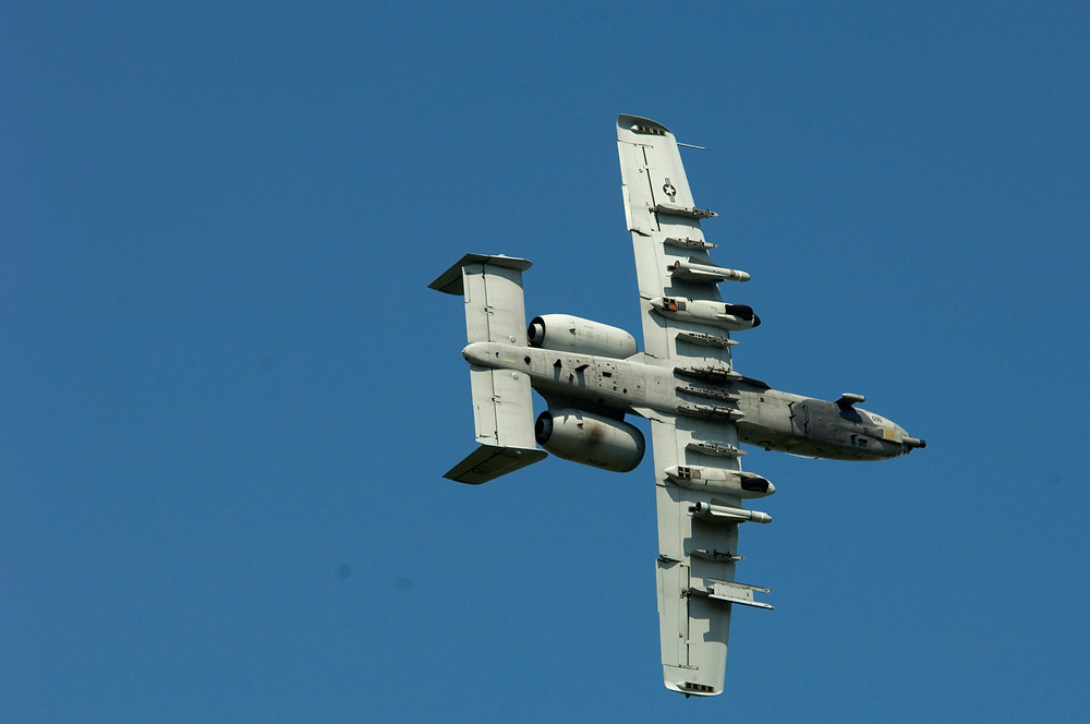 A fully loaded A-10 from the underside