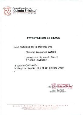 Diplome Attestation de stage en Shiatsu www.shiatsu-sensobailo.com Shiatsu Massage, Do in, Shiatsu sur chaise, Reflexologie plantaire, Laurence Lanoë, Lanester, Lorient.