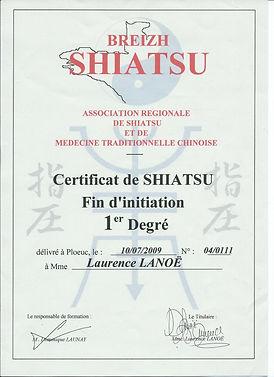 Diplome Formation Shiatsu Certificat 1er degrè www.shiatsu-sensobailo.com Shiatsu Massage, Do in, Shiatsu sur chaise, Reflexologie plantaire, Laurence Lanoë, Lanester, Lorient.