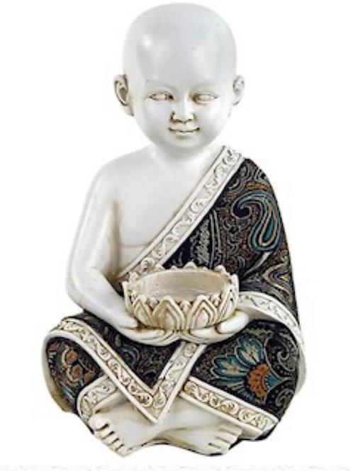 Bougeoir moine tibétain blanc