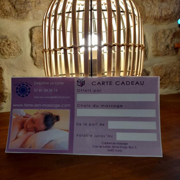 Chéque cadeau cabinet de massage Auray Morbihan