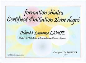 Diplome Formation Shiatsu Certificat 2ème degrès www.shiatsu-sensobailo.com Shiatsu Massage, Do in, Shiatsu sur chaise, Reflexologie plantaire, Laurence Lanoë, Lanester, Lorient.