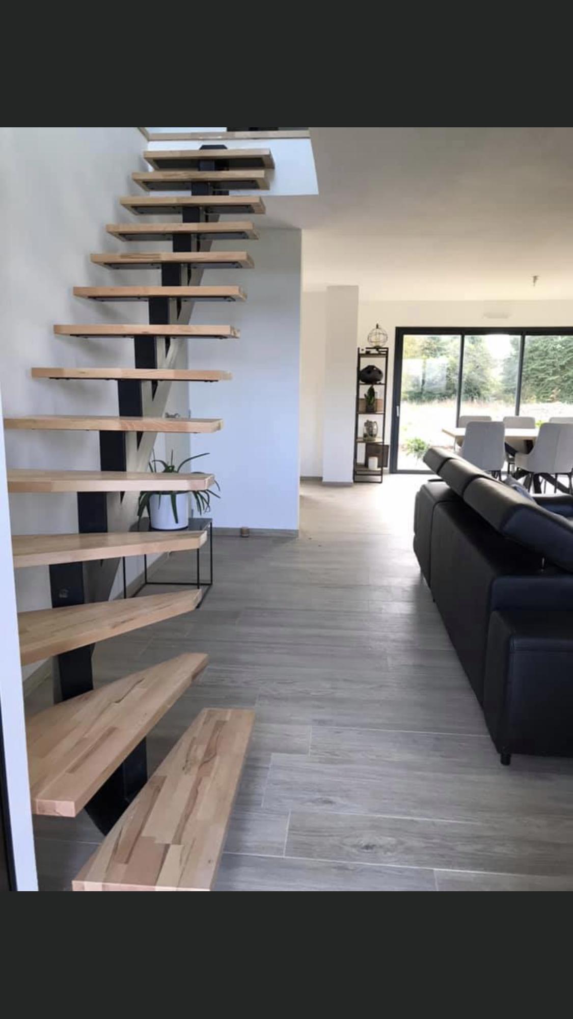 Escalier Bois Metal Noir fabrication | structure métal concept | france | lorient