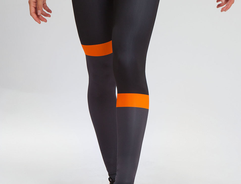 Running Tights - Black Orange women's