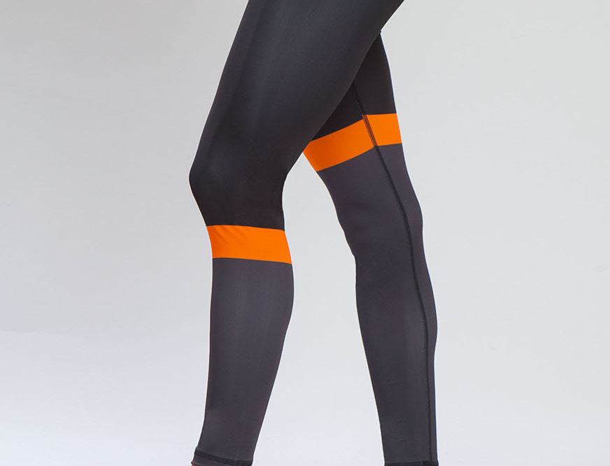 High Waist Running Tights - Black Orange women's