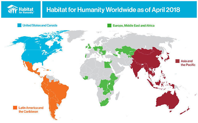 World map of where Habitat for Humanity is involved with housing issues.