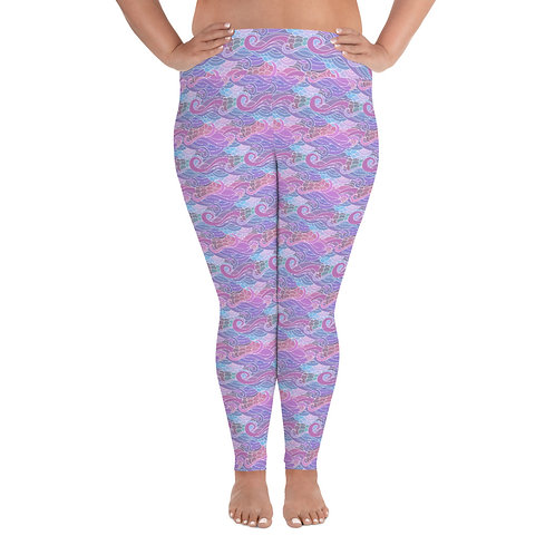Wave and Wind + Size Leggings