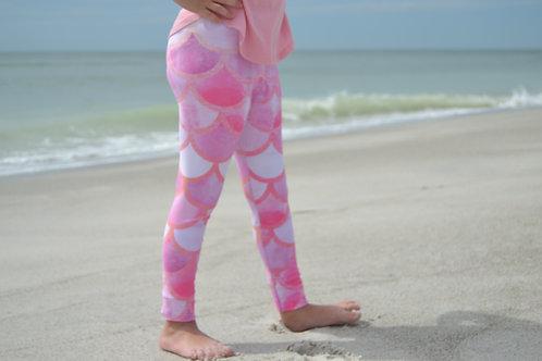 Pink Mermaid Youth Leggings