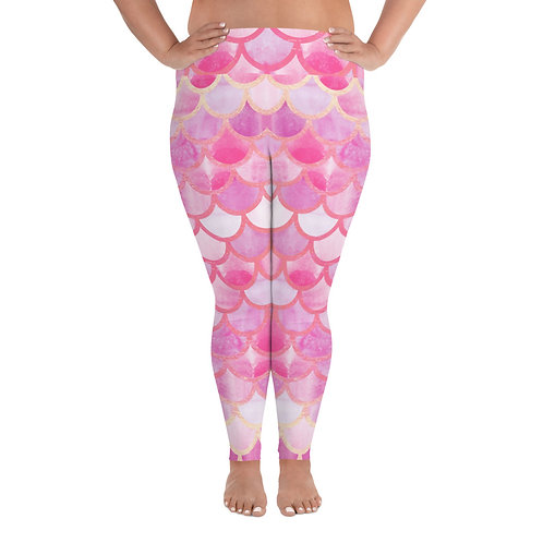Pink Mermaid + Size Leggings