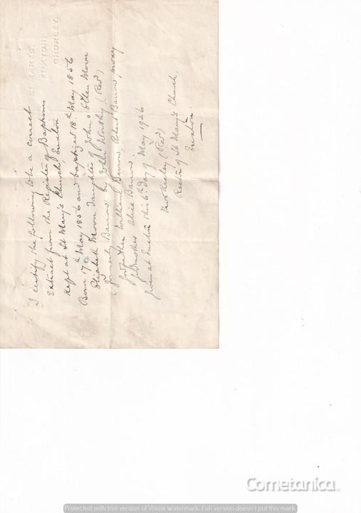 Receipt of Baptism Certificate for Elizabeth Moon