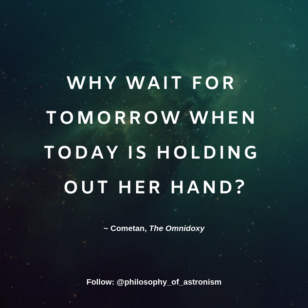 """Why wait for tomorrow when today is holding out her hand?"" - Cometan, The Omnidoxy"