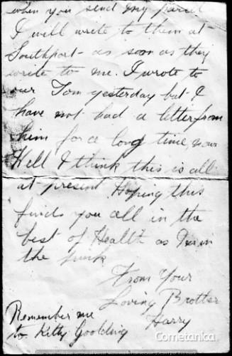 Henry Warbrick's Letter to Sister Part 2