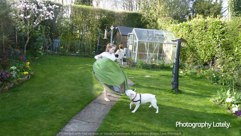 Charlotte Sophia with Ozzie in the Garden of Brooklands