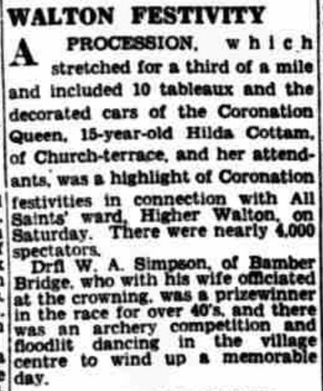 Hilda Cottam Coronation Queen Event from Lancashire Evening Post Monday 8th June 1953