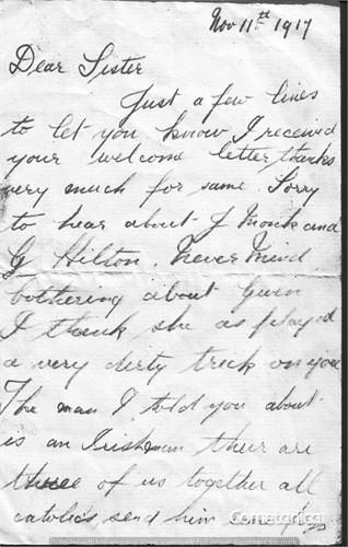 Henry Warbrick's Letter to Sister Part 1