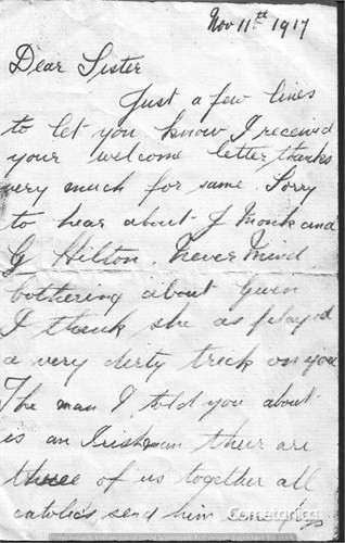 Henry Warbrick's Letter to Sister Part 1