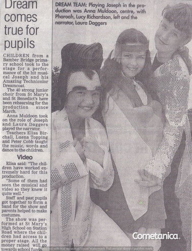 Newspaper Extract Featuring Lucia Natalie, Cometan's Sister Dressed as Elvis Presley