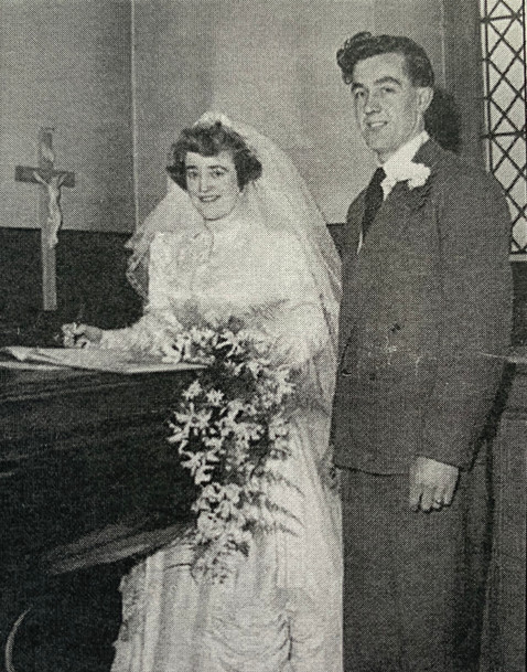 Irene & Derrick, paternal grandparents of Cometan, on their wedding day in 1954