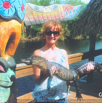 Louise J. Counsell Holding The Alligator