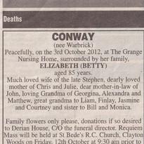 Lancashire Evening Post Obituary Extract