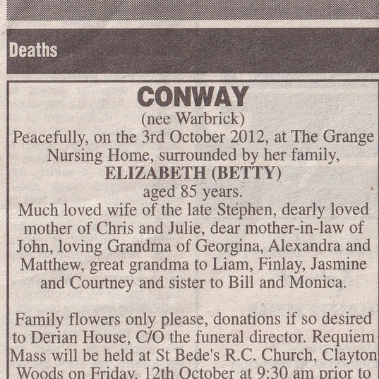 Lancashire Evening Post Obituary Extract