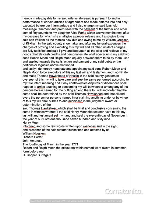 Part 3 of Last Will & Testament of Henry Moone