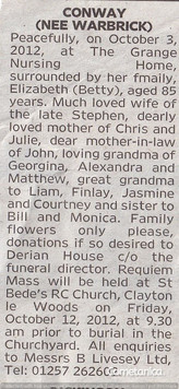 Second Newspaper Obituary Extract for Betty Conway, Cometan's Great Aunt