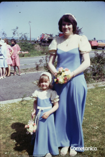 Young Louise Counsell As A Bridesmaid At Her Cousin's Wedding