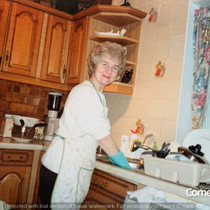 Hilda Warbrick In Kitchen of Brooklands.