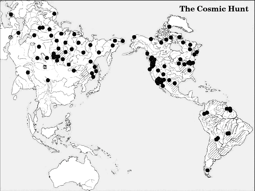 Figure 2 – Area distribution of the Cosmic Hunt myth in the Old and New Worlds. For shaded areas data is not available or is unprocessed. (Berezkin, 2005, p79–100)