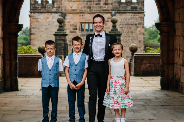 Cometan & His Sister, Edie Taylorian, with his Brothers, Jay and Kent Taylorian at Cometan's 21st Birthday Party at Hoghton Tower on 29th June 2019