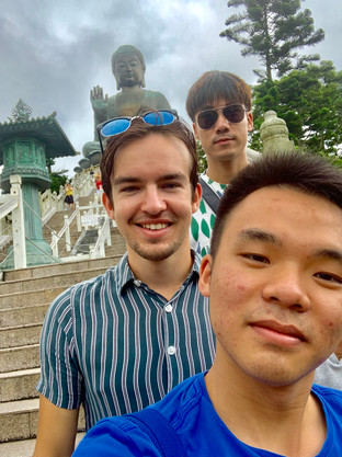 MK, Heastward, and Cometan with Tian Tan Buddha