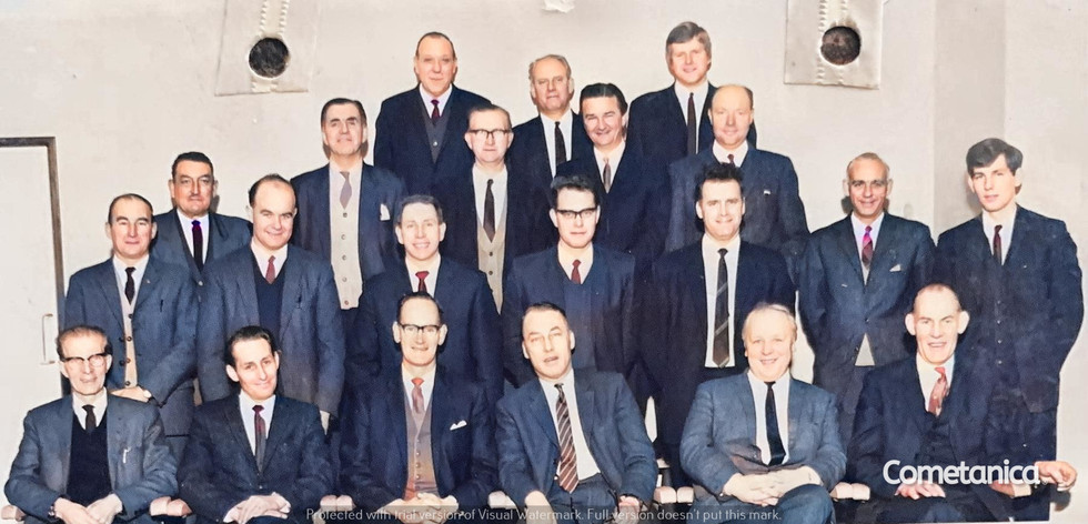 Bill Warbrick, grandfather of Cometan with colleagues (Colourised)