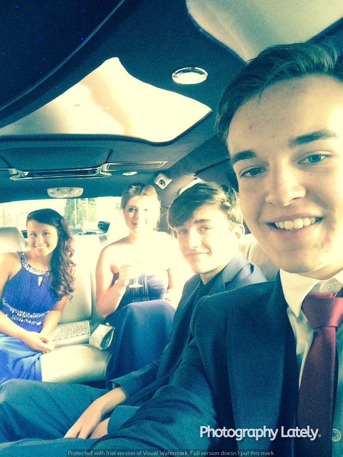 Cometan Inside Limo With Friends at Prom