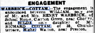 Announcement of the Engagement of William Warbrick & Hilda Cottam from Lancashire Evening Post Friday 20th July 1956