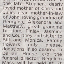 Second Newspaper Obituary Extract for Be