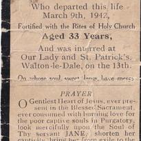 Mass Card for Jane Cottam, Cometan's Gre