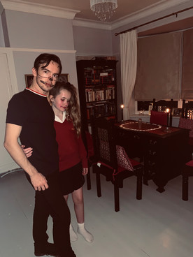 Cometan and Charlotte Sophia on Halloween 2019 about to experience a séance