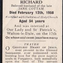 Mass Card for Richard Cottam, Cometan's