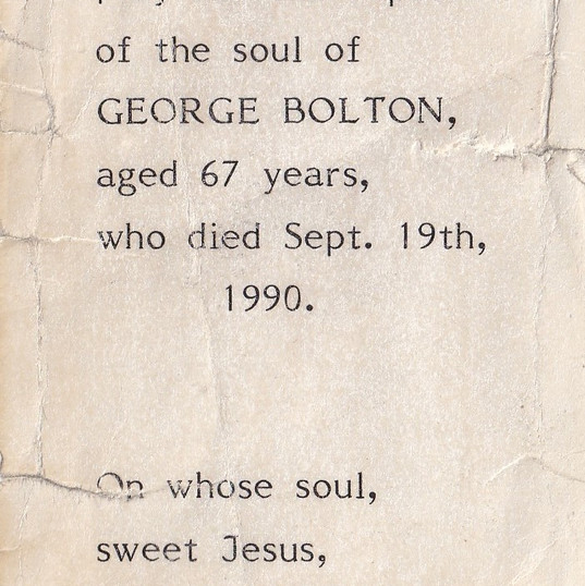 Mass Card for George Bolton, Cometan's G