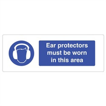 Ear Protection Rigid Plastic Sign 600 x 200mm