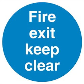Fire exit keep clear plastic sign