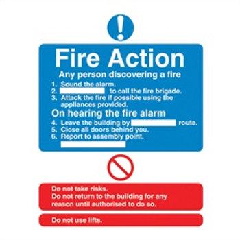 Fire action rigid plastic sign