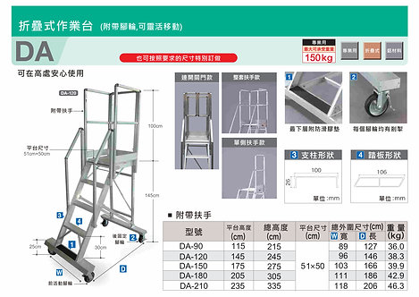 Hasegawa日本長谷川 DA系列 鋁摺疊式工作台 (連圍欄扶手,特製加門)