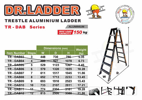 DR LADDER TR-DAB Series A字黑色鋁梯