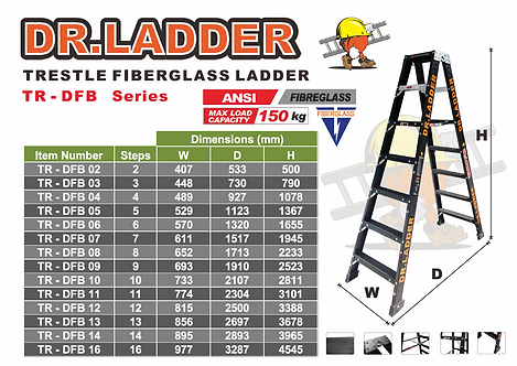 DR LADDER TR-DFB Series A字黑色纖維梯